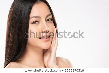 Foto stock: Bastante · jovem · asiático · modelo · brilhante · make-up