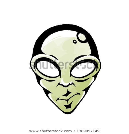 Ink and Watercolor Sketch of a Green Alien Face Stock photo © cidepix