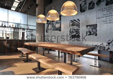 restaurant · grenier · style · blanche · table · en · bois · quatre - photo stock © bezikus