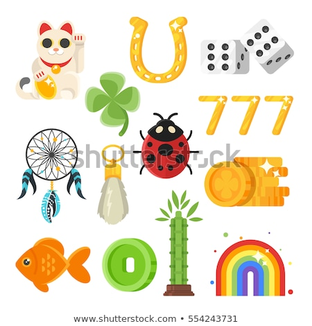 Stock photo: Vector flat style set of luck objects.