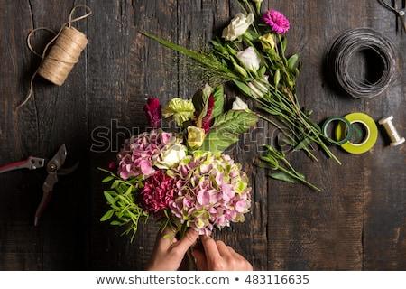Blumengeschäft Desktop arbeiten Werkzeuge Holz Blume Stock foto © master1305