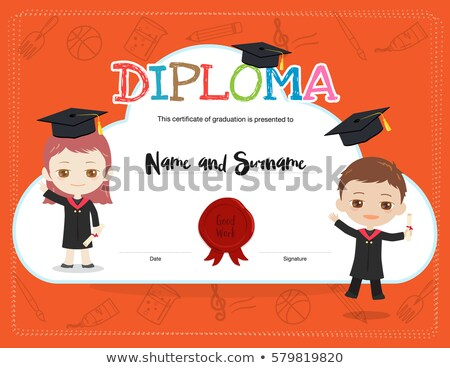 banner template with kids in graduation gowns vector illustration