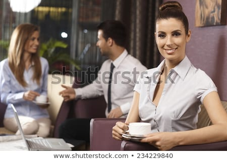 businesspeople at a bar drinking coffee stock photo © is2
