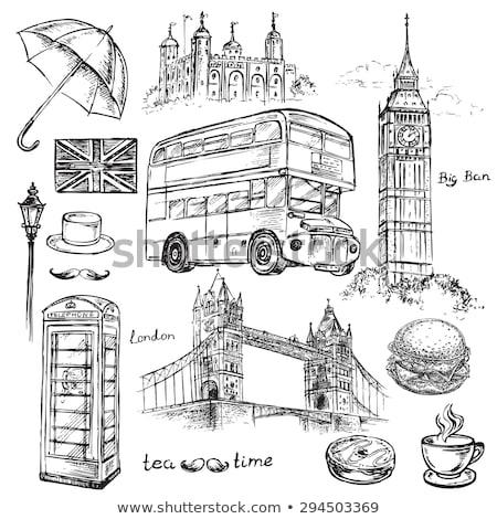 セット イングランド シンボル 手描き ビッグベン 中心 ストックフォト © NikoDzhi