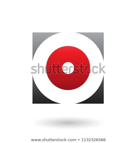 Black and Red Square Icon of a Thick Letter O Vector Illustratio Stock photo © cidepix