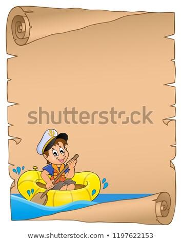 Foto stock: Pergamino · nino · barco · agua · papel · persona