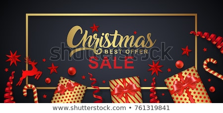 Christmas sale and discount typography cards with trees and Santa. Xmas season offers lettering embl Stock photo © JeksonGraphics