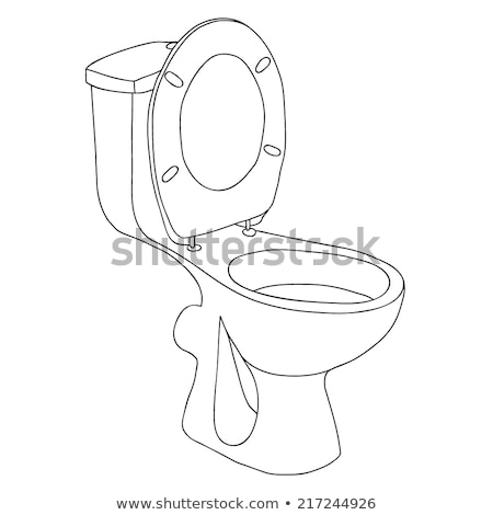 Sketch of toilet bowl isolated on white background. Vector Stock photo © Arkadivna