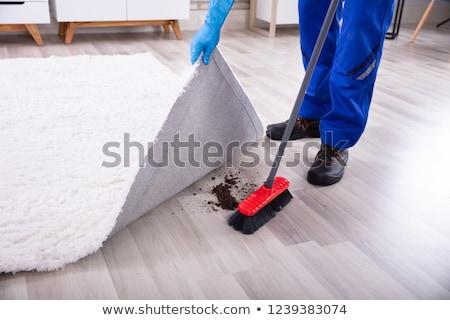 Gondnok takarítás kosz szőnyeg kilátás férfi Stock fotó © AndreyPopov