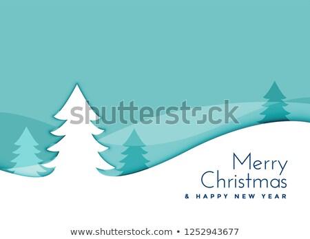 elegant christmas tree landscape scene in papercut style Stock photo © SArts