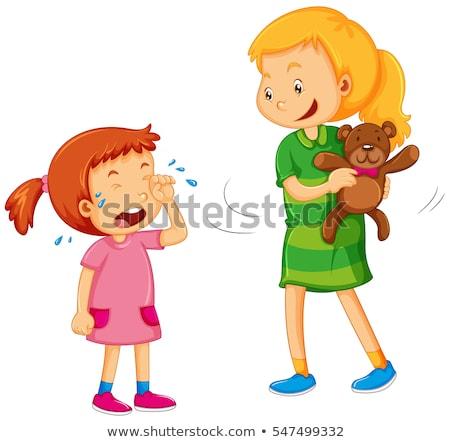Big girl taking bear away from little girl Stock photo © colematt