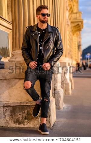 Retrato homem jaqueta de couro óculos de sol Foto stock © feedough
