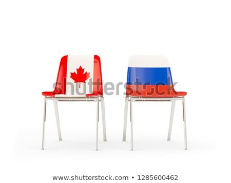 Dos sillas banderas Canadá Rusia aislado Foto stock © MikhailMishchenko