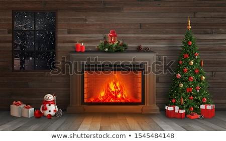 Noel şömine yanan yangın kardan adam neşeli Stok fotoğraf © robuart