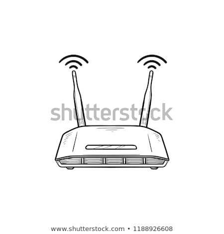 Stock photo: Wifi router hand drawn outline doodle icon.