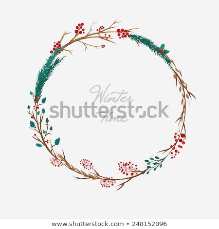christmas wreath circle made of mistletoe leaves stock photo © robuart