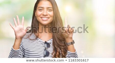 Meisje tonen aantal zes illustratie achtergrond Stockfoto © colematt