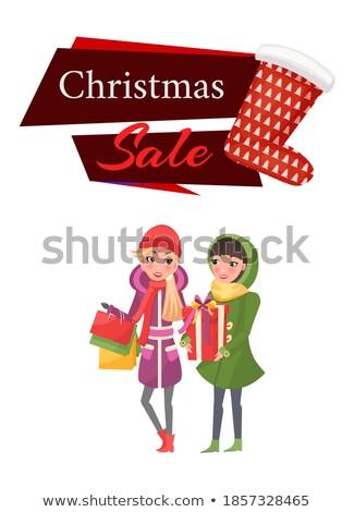 Winkelen vrouw gelukkig gekocht colli vector Stockfoto © robuart