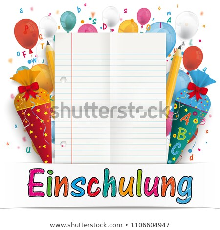 Confetti Balloons Letters Pencil Candy Cone Einschulung  Stock photo © limbi007