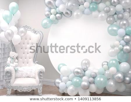 Stockfoto: Baby · jongen · ballonnen · zoete · vergadering · vloer