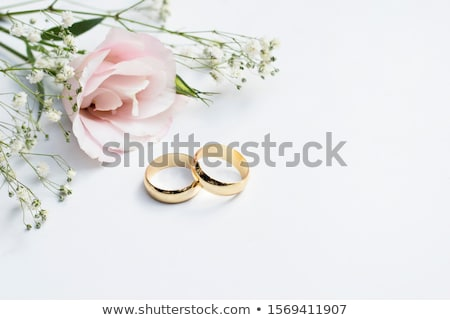 Two wedding rings with white flower in the background Stock photo © ruslanshramko