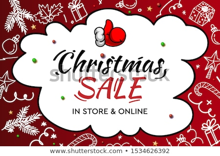 Christmas Sale, in store and online. Handwritten modern lettering with doodle decorative elements an Stock photo © ikopylov