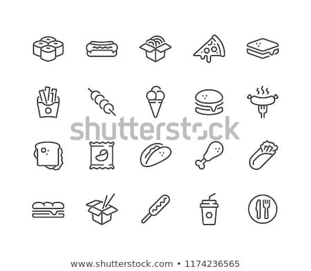 Kebab ikon fehér étel művészet nyár Stock fotó © smoki