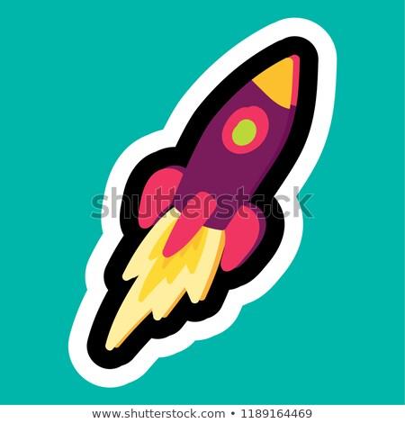 Elegante colorido desenho animado adesivo foguete negócio Foto stock © barsrsind