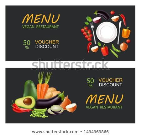 Zöldségek prospektus vektor valósághű padlizsán paradicsomok Stock fotó © frimufilms