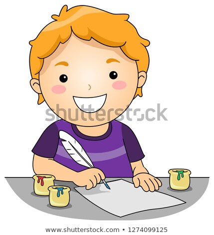 Kid Boy Quill Pen Colored Ink Illustration Stock photo © lenm