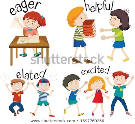 Zestaw dzieci uczucia słowa ilustracja Zdjęcia stock © bluering