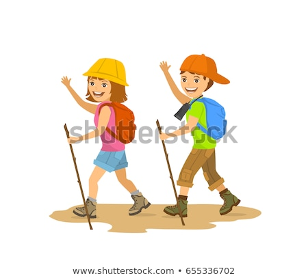 Boy with hiking stick on white background Stock photo © bluering