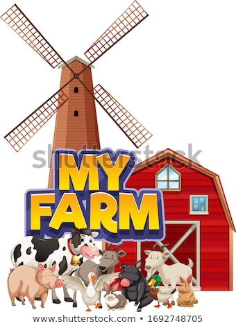 Font design for word my farm with barn and windmill Stock photo © bluering