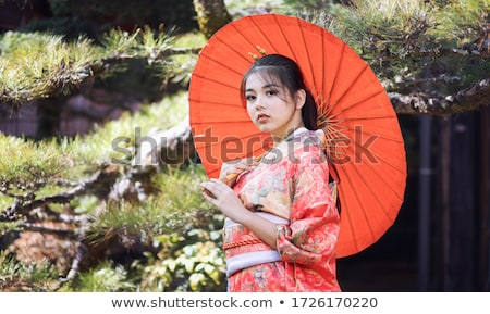 Image of young geisha woman in japanese kimono holding wooden ha Stock photo © deandrobot