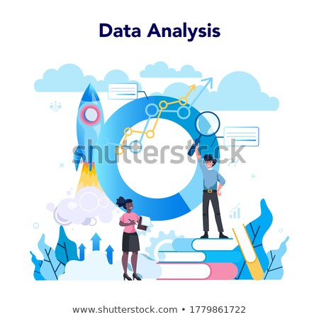 Woman Working on Data and Stats Analysis Vector Stock photo © robuart