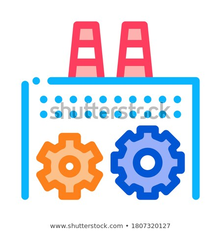 technical settings of thermal power plant icon vector outline illustration Stock photo © pikepicture