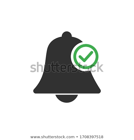 Allow notifications bell icon. An active alarm on your devices with deadline checkmark on bell. Stoc Stock photo © kyryloff