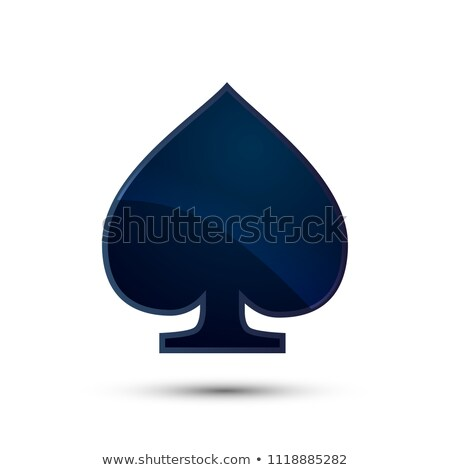 Glossy deep blue spades card suit icon on white Stock photo © evgeny89