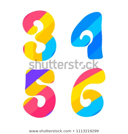 Psychedelic font with colorful pattern. Vintage hippie 3 4 5 6 letters on white Stock photo © evgeny89