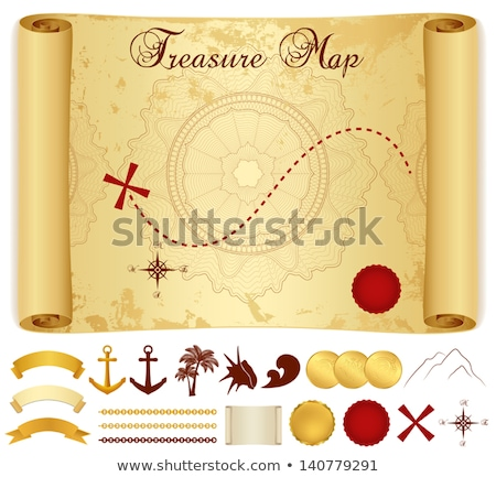 Vintage wind rose symbol, ancient compass icon on old yellow paper Stock photo © evgeny89