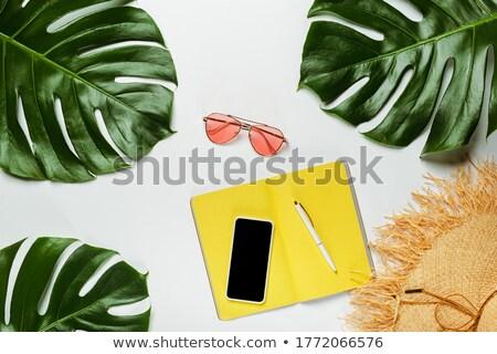 Chapéu de palha verde folha de palmeira óculos de sol amarelo fundo Foto stock © dash