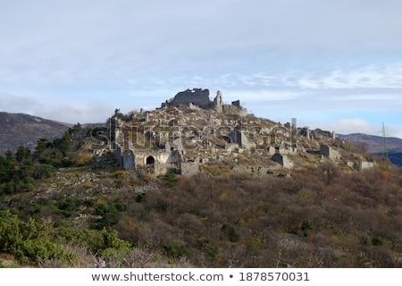 Stockfoto: Ledenice Historic Town On The Hill Ruins View Vinodol Valley