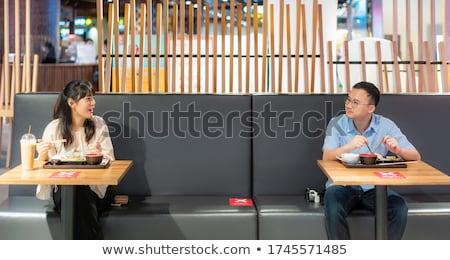 Asian para jedzenie na zewnątrz nowego normalny Zdjęcia stock © vichie81