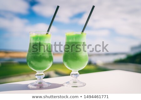 Green smoothie detox cleanse drink at cafe restaurant morning breakfast meal replacement for weight  Stock photo © Maridav