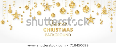 Christmas Baubles and Streamers on Gold Stock photo © frannyanne