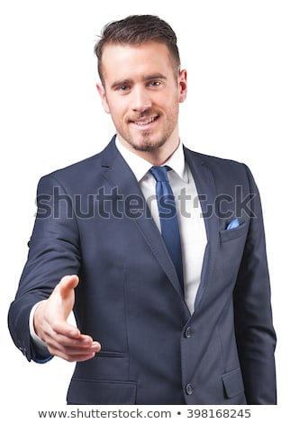 Foto stock: Hombre · de · negocios · mano · apretón · de · manos · retrato · positivo · hombre