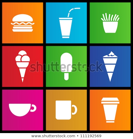 ijs · koffie · fast · food · iconen · voedsel · brood - stockfoto © cidepix