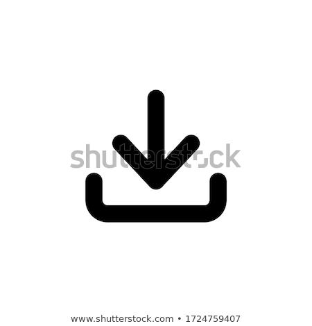 Icône de téléchargement vert flèche brillant Photo stock © experimental