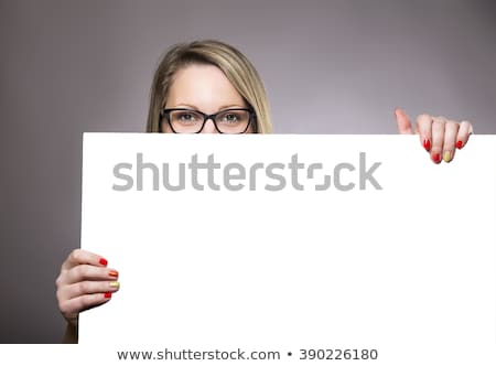 beautiful brunette with empty billboard stock photo © lithian