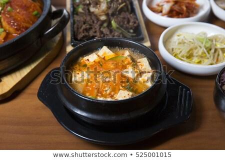 Sopa tofu camarão café da manhã chinês jantar Foto stock © M-studio